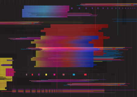 Glitch abstract background. Glitched horizontal stripes. Colorful digital signal error. 矢量图像