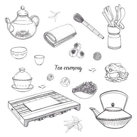 Réglez la cérémonie du thé avec divers outils traditionnels. Théière, bols, gaiwan. Contour illustration dessinée à la main.