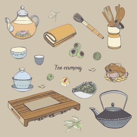 Réglez la cérémonie du thé avec divers outils traditionnels. Théière, bols, gaiwan. Illustration colorée dessinée à la main.