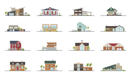 farmstead: Set of different styles residential houses. Colorful flat vector illustration. Collection building villa, cottage, mansion.