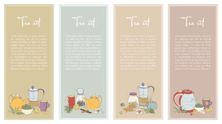 Set with Tea flyer. Collection of vertical banner for shop design. Hand drawn vector illustration.