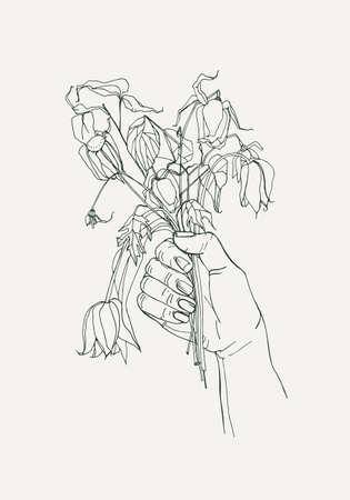 그녀의 손에시 든된 꽃, 느낌 개념을 사라. 손으로 그린 삽화