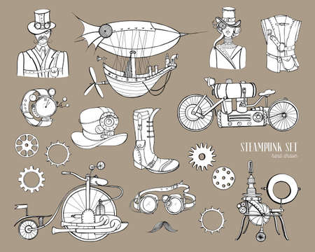 Steampunk objects and mechanism collection machine, clothing, people and gears. Hand drawn vintage style illustration set.