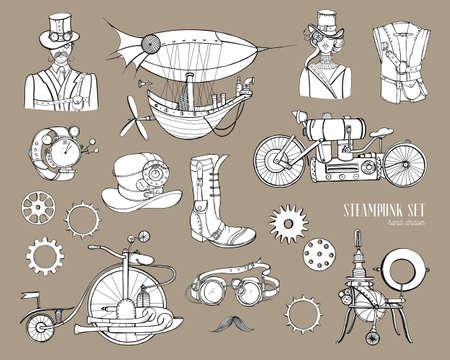 Steampunk Objekte und Mechanismus Sammlung Maschine, Kleidung, Menschen und Getriebe. Hand gezeichnete Weinleseartillustration eingestellt.