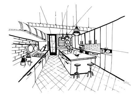 Modern kitchen interior in loft style. Hand drawn sketch illustration. Stock Illustratie
