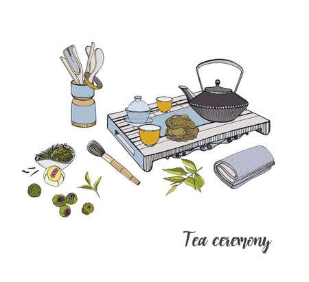Cérémonie du thé avec divers éléments traditionnels. Illustration colorée dessinée à la main.