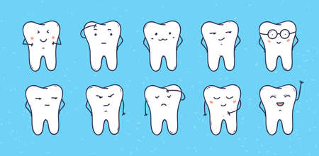 Funny teeth icons, set of doodle cartoon characters.