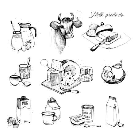 Dairy products hand drawn collection. Set milky farming assortment. Illustration on white background.