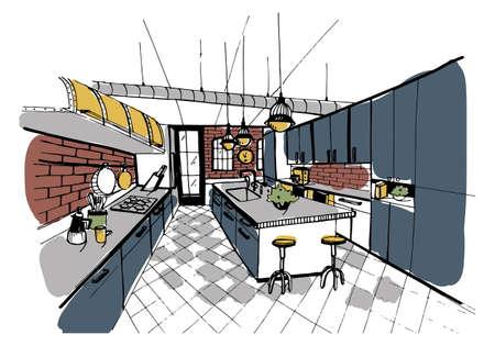 Modern kitchen interior in loft style. Hand drawn colorful illustration.