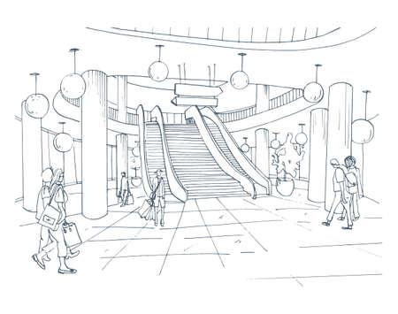 Modern interieur winkelcentrum, winkelcentrum. Contour schets illustratie.
