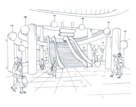 Modern interior shopping center, mall. Contour sketch illustration.