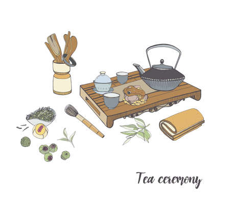 Tea ceremony with various traditional elements. Colorful hand drawn illustration. Illustration