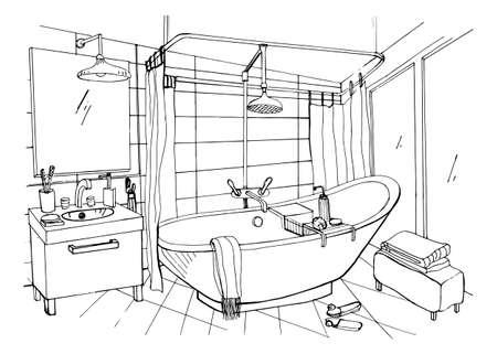 Hand Drawn Modern Bathroom Interior Design Vector Sketch