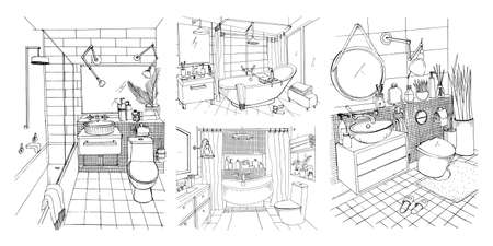 Hand drawn modern bathroom and toilet interior design collection. Contour vector sketch illustrations set.