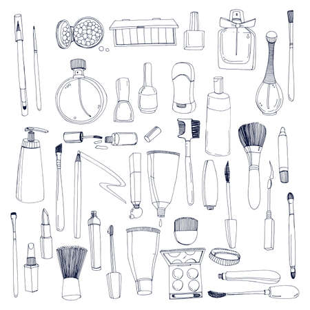 Fashion cosmetics set with make up artist objects. Contour vector hand drawn illustration collection.