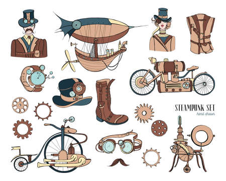 Steampunk objects and mechanism collection: machine, clothing, people and gears. Hand drawn vintage style illustration set.