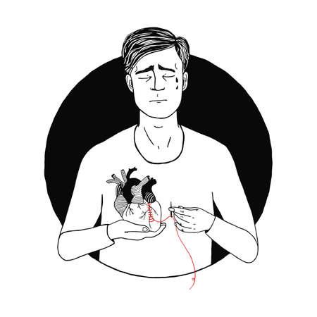 Sad and suffering man loss of love. guy, broken heart concept. hand drawn illustration