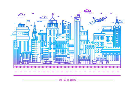 Megalopolis, big city life, contour line art illustration