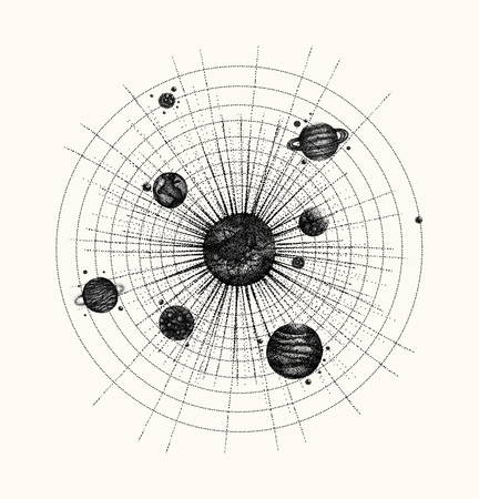 Solar system in dotwork style. planets in orbit. vintage hand dr