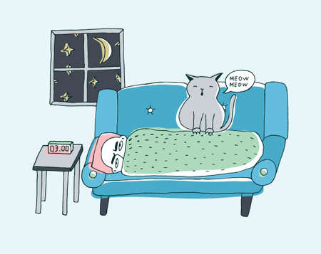 The cat wakes the owner, meowing at night. Cute hand drawn doodle illustration. Illustration
