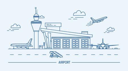 空港、航空機。エア ターミナルと飛行機ラインアート黒と白のベクトル図です。 写真素材 - 74916179