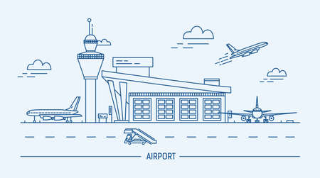 Airport, aircraft. Lineart black and white vector illustration with air terminal and airplanes. Illustration