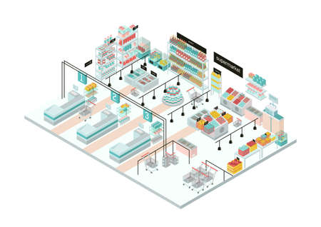Supermarket interior. Grocery store. Colorful isometric illustration.