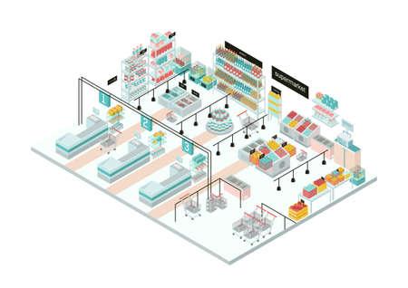 Wnętrze supermarketu. Sklep spożywczy. Kolorowa izometryczna ilustracja. Ilustracje wektorowe