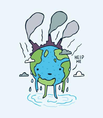 Verdrietige vervuilde aarde. met help me bericht.