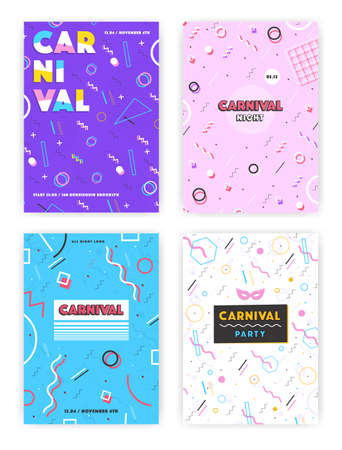 90s: carnival poster set. abstract memphis 80s, 90s style retro background collection with place for text.
