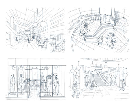 Set of modern interior shopping center. Collection various space mall. Contour sketch illustration. 向量圖像
