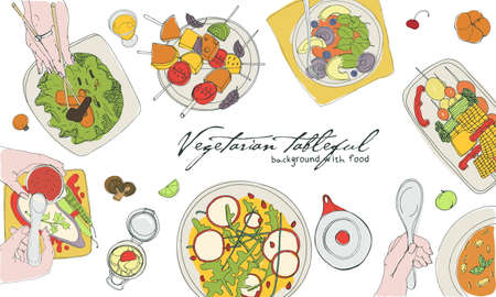 Festive vegetarian tableful, laid table, holidays hand drawn colorful illustration, top view. Background with place for text. Illustration
