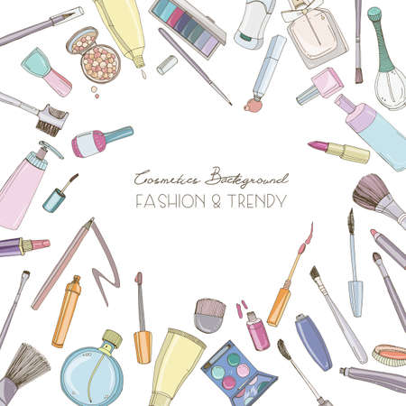 Fashion cosmetics square background with make up artist objects, Vector hand drawn frame with place for text.