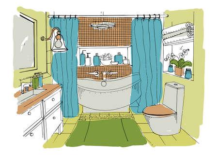 #75721327   Handgezeichnetes Modernes Badezimmer Innenarchitektur. Vector  Bunte Skizze Illustration.