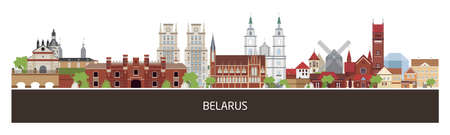 Background with Belarus country buildings and place for text. horizontal orientation banner, flyer, header for site.