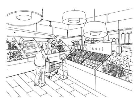 Supermarket interior in hand drawn style. Grocery store, vegetable department. Vector black and white illustration. Stock Vector - 75745184