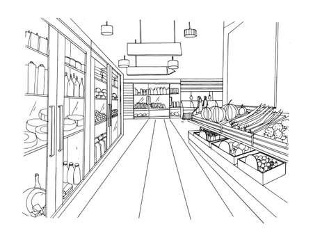 Gezeichnete Schwarzweißabbildung des Supermarktes Innenhand. Lebensmittelmarkt. Standard-Bild - 75745194