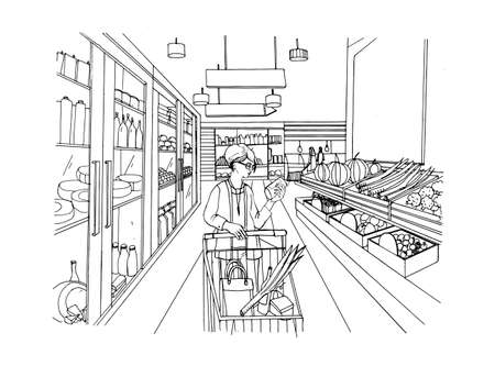 Supermarket interior with shopper girl. Grocery store, hand drawn colorful illustration.