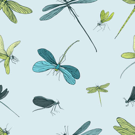 adder: Seamless pattern with different dragonfly. Hand drawn background with flying adder. Vector illustration. Illustration