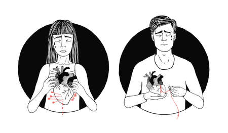 Sad and suffering man and woman loss of love. broken heart concept. hand drawn illustration.