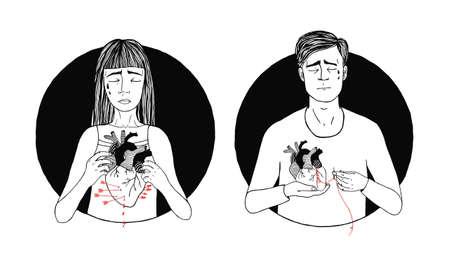 Smutna i cierpiąca utrata miłości mężczyzny i kobiety. koncepcja złamanego serca. ręcznie rysowane ilustracji. Ilustracje wektorowe