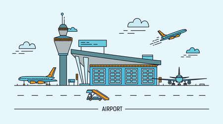 Aeropuerto, avión. Ilustración de vector colorido Lineart con terminal aérea y aviones.
