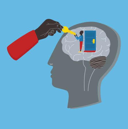 Psychologie, Psychotherapie, mentale Heilungskonzept. Schlüssel zum Unterbewusstsein, Seele, Geist. Bunte Illustration des Vektors im flachen Stil. Standard-Bild - 76060226