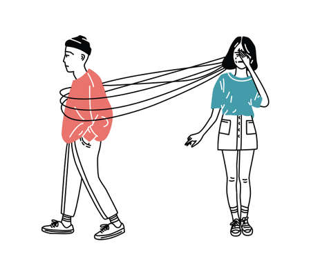 Sad and suffering girl loss of love. love addiction concept. Parting couple. Girl and think about guy, lineart illustration Illustration