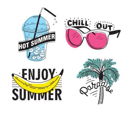 Conjunto de vector de letras dibujadas a mano con inscripciones Disfrute de verano, paraíso, verano caliente, relajarse. Colección tipográfica con ilustraciones de palma, gafas de sol, bebida con hielo, plátano.