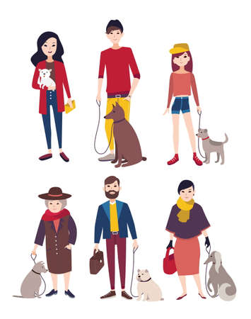 cute dog: People walking with his dogs of different breeds. Colorful flat illustration. Illustration