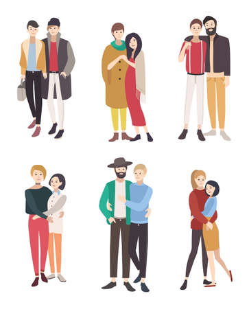 Gay couples flat colorful illustration. LGBT men and women in love. 일러스트