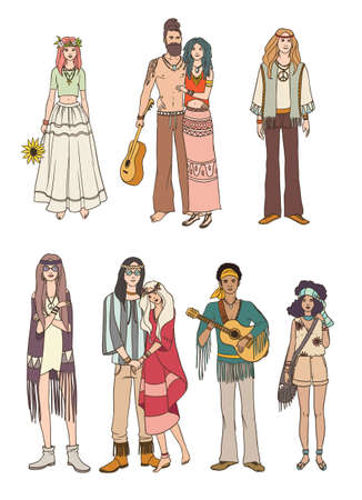 Set of various hippie people in different clothes on white background. Colorful vector illustration. Illustration