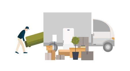 moving in: Worker loading things for transportation. Moving into a new house. Cartoon illustration in flat style.