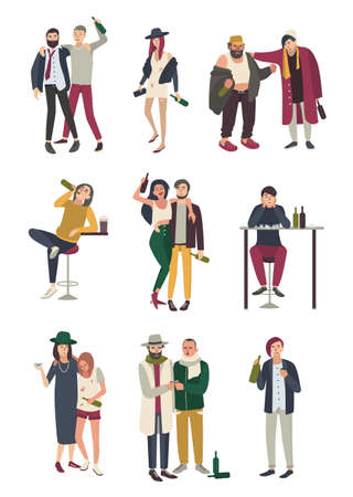 Drunk people in various situation. Flat characters set. woman and man, girl and boy on white background.